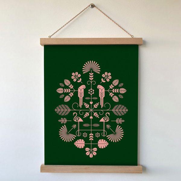 Folk Print Forest Green