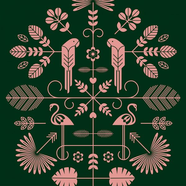 Folk Print Forest Green